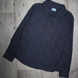 Новогодняя нарядная стильная рубашка серая олени в горошек f&f 7-8 лет, рост 122-128 см.