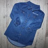 Джинсовая туника платье джинсовое золотые пуговицы Primark 9-12 месяцев, рост 74-80 см.