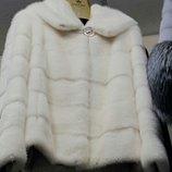 Шуба из натуральной норки с капюшоном, альбинос, 65 см, код tod-00167