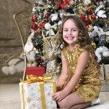 Новогоднее нарядное золотое платье