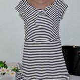 Брендовое белое коттоновое нарядное мини платье в синюю полоску atmosphere молдавия