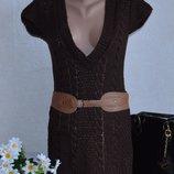 Коричневая теплая вязанная туника с поясом в косичку bay великобритания акрил
