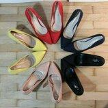 Туфли лодочки шпилька синие желтые пудра красные черные