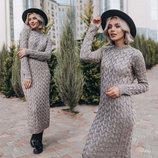 Женское длинное вязаное платье 236 Снежинка в расцветках