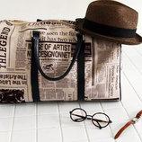Большая сумка бочонок с принтом газеты В Наличии