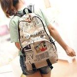 Вместительный городской рюкзак с принтом газеты В Наличии