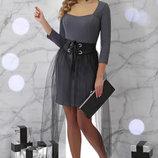 Платье Аэлита Д/р серое черное бордовое платье с фатиновой юбкой