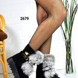 Ботинки с натуральной опушкой кролика