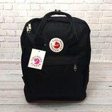 Стильный рюкзак Fjallraven Kanken, канкен с отделением для ноутбука. Черный