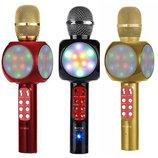 Беспроводной Караоке Микрофон с цветомузыкой и динамиком Wster WS-1816 USB AUX FM