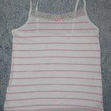 Белая майка сарафан Next в нежно-розовую полоску. На девочку 7-8 лет. Рост 122-128 см.