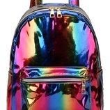 Рюкзак разноцветный лаковый голографический радуга унисекс вместительный