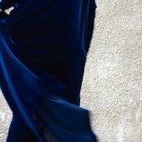 Шикарное Бархатное платье оверсайз в пол с завязками на груди и воланами