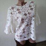 Красивая нарядная блуза блузка белая футболка кружевная рубашка размер л.12 Next