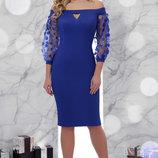 Шикарное вечернее платье Розана Д/р с прозрачными рукавами сетка цветок скл.2