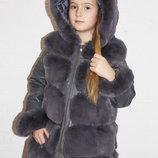 Детская шуба для девочки с капюшоном серая