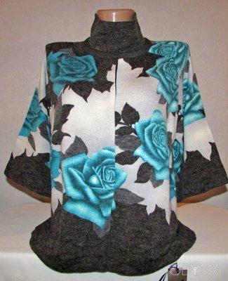 Изумительная Кофта Жакет легкая ангорка Изумрудные розы