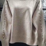 Женская нарядная кашемировая кофточка с бусинами
