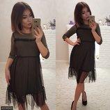Платье с сеткой Цвет хаки