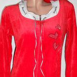 Женский велюровый халатик на молнии, красного цвет, М, Турция.