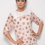 Розовая женская блузка MA&GI в коричневый горошек