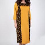 Нарядное женское платье большого размера с гипюровой отделкой, р.52-60