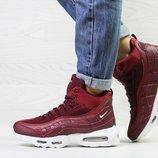 Зимние женские кроссовки Nike 95 burgundy