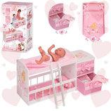Двухъярусная кровать с пеленальным столиком и комодом для кукол 54323 DeCuevas. Дерево