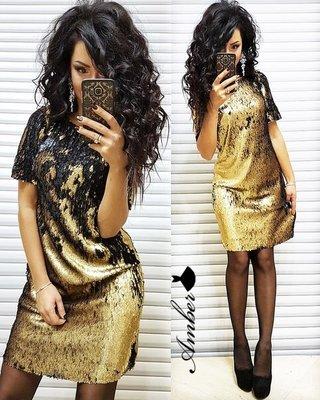 Новинка Нарядное яркое платье мини двухсторонняя пайетка разные цвета от р40 по р46