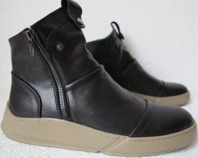 Gross стильные зимние мужские ботинки кожа модные сапоги змейка