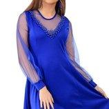 Вечернее платье декорировано жемчугом 3 цвета