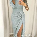 Шикарное вечернее платье ткань трикотаж люрекс и разрезом Medea арт.880 скл.10