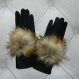 зимние перчатки с мехом