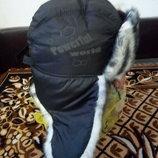 Шапка - ушанка мужская зимняя с плащевки черная 57,58р распродажа