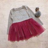 Теплое ангоровое платье на девочку с фатиновой юбкой нарядное