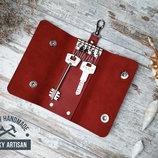 Ключница чехол для ключей 6 Карабинов натуральная кожа