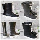 Натуральные черные, серые кожаные дутики на платформе - Выбор цвета Зима и Деми
