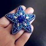 Брошь Звезда кристаллы Сваровски