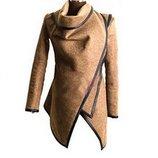 Стильное бежевое пальто накидка lesara