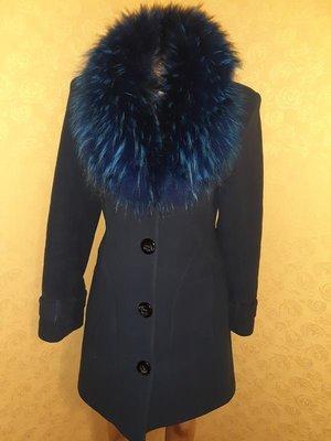 Роскошное зимнее пальто на ватине с натуральным енотом, р.44-46