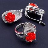 Комплект украшений серьги и кольцо покрытие родий код 1554