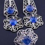 Комплект украшений серьги и кольцо с синими фианитами код 1558