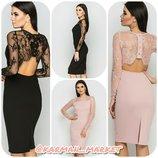 Шикарное платье с кружевной спинкой. Черный и розовый.