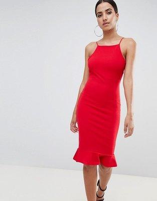c83ab460914 Красное вечернее платье миди на тонких бретельках с воланом по низу  missguided