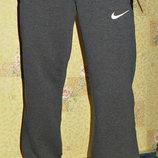 Летние спортивные штаны Nike на манжете темно - серые.