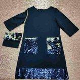 Нарядное платье для девочки. Паетки. 128р.