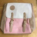Рюкзак бежево-розовый винтажный ретро на ремешках мягкий кожаный вместительный