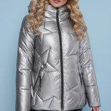 Куртка 18-146 куртка золотистого серебро графит цвета со звездами