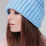 Тёплая шапка букле, Женская вязаная шапка, с широким отворотом