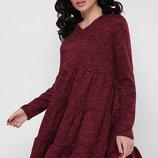 Теплое шерстяное ангоровое платье с пышной юбкой с рюшами Missy PL-1666Cскл.8